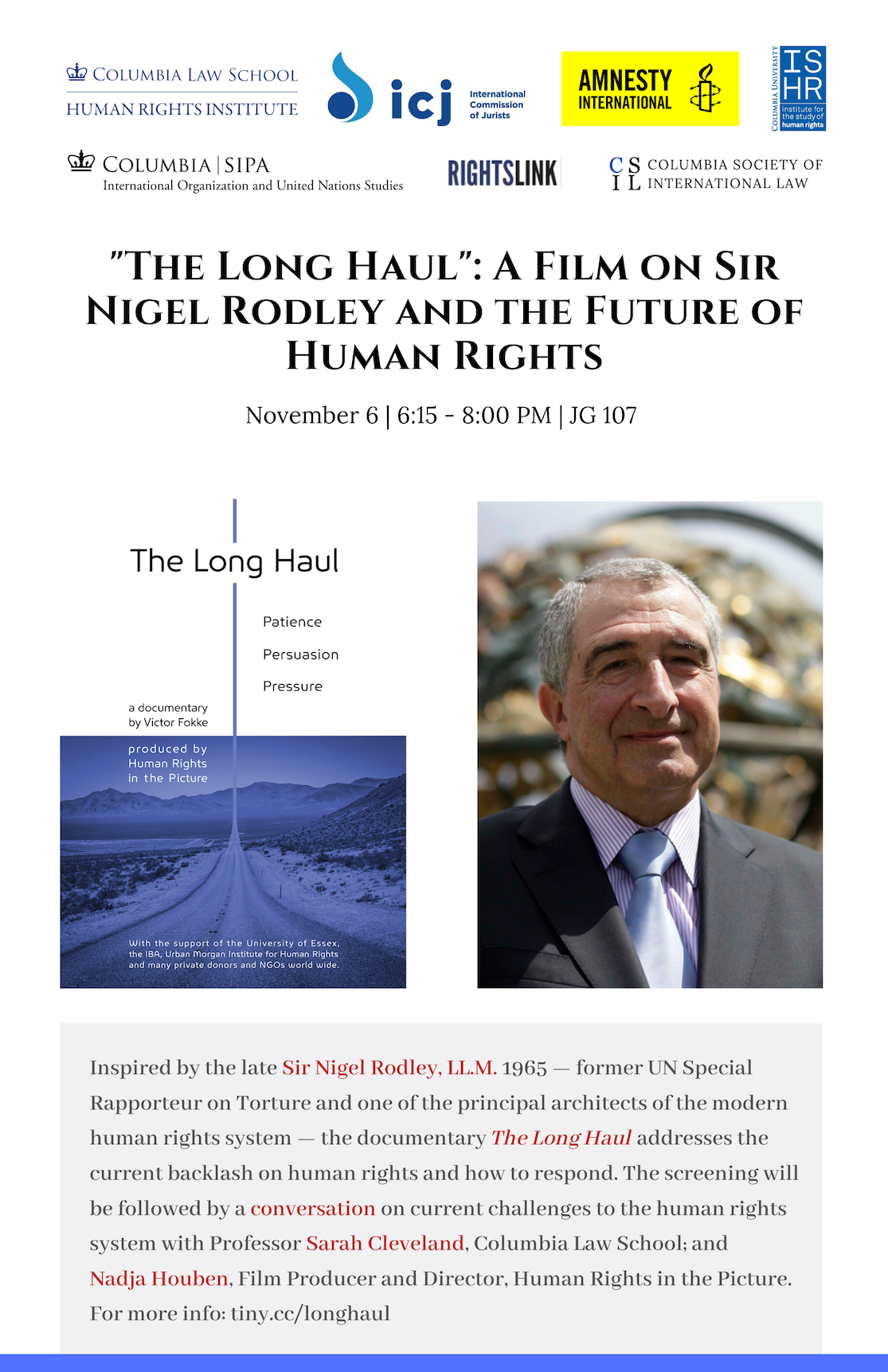 """The Long Haul"": A Film on Sir Nigel Rodley and the Future of Human Rights"