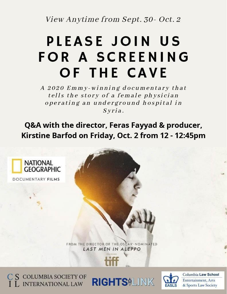 Flyer for the screening and post-screening discussion of the cave.